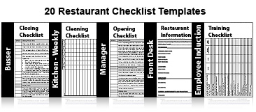 Restaurant training package 50 templates restaurant for Bartender schedule template