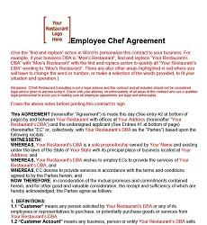 Employment Contract For Chefs And Cooks Restaurant