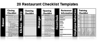 20 restaurant checklists
